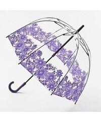 Fulton dámský průhledný holový deštník Birdcage 2 PURPLE GERBERA L042