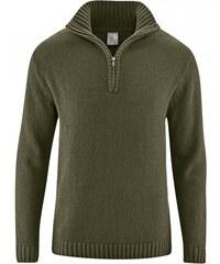 Hempage SNORRE pánský pletený svetr z konopí a biobavlny - khaki