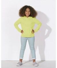 Stanley&Stella MINI BLOOM Dětské mikinové tričko s dlouhými rukávy s kapucí a klokankou ze 100% biobavlny - žlutá