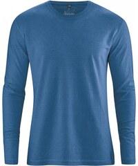 Hempage DIEGO pánské tričko s dlouhým rukávem z biobavlny a konopí - tmavě modrá sea