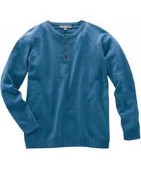 Hempage PAUL pánský pulovr s dlouhým rukávem z konopí a biobavlny - modrý