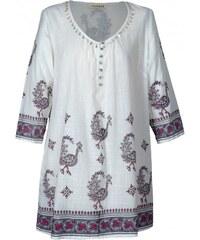 Nomads PEACOCK dámská letní tunika - bílá s potiskem pávů