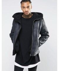 ASOS - Schwarze Jacke in Schaffelloptik mit Kapuze - Schwarz