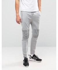 Only & Sons - Pantalon de jogging molletonné avec bas resserrés et détail aux genoux - Gris