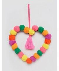 Paperchase - Weihnachtlicher Kranz aus Bommeln in Herzform - Mehrfarbig