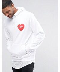 Poler - Sweat à capuche avec petit logo cœur - Blanc