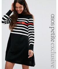 ASOS PETITE Knitted Dress with Stripe and Heart - Noir