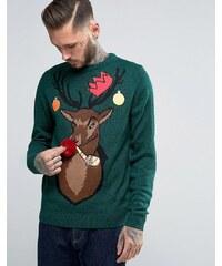 Threadbare - Pull de Noël à motif renne fêtard - Vert