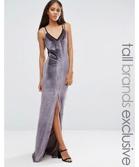 Naanaa Tall - Zweilagiges Maxikleid mit Riemchendesign - Grau