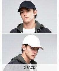 ASOS - Lot de 2 casquettes de baseball - Noir et blanc - Multi
