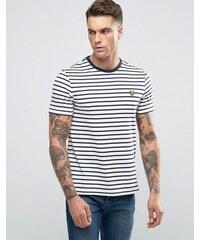 Lyle & Scott - T-shirt style marinière avec logo aigle - Blanc cassé - Blanc