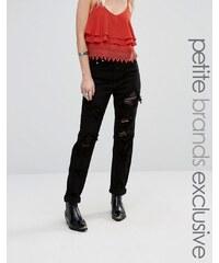 Glamorous Petite Extreme Distress Boyfriend Jeans With Mesh Insert - Noir