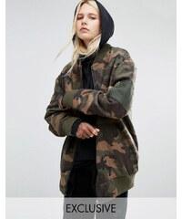 Story Of Lola - Bomber style MA1 en mélange de laine effet brossé à imprimé camouflage - Multi
