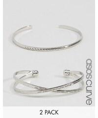 ASOS CURVE - Lot de 2 bracelets rigides hachuré et évidé - Argenté