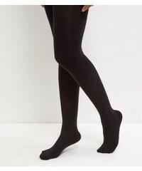 New Look Schwarze Strumpfhose mit Zopfmuster, aus Baumwollgemisch