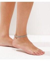 New Look Silbernes, mehrreihiges Fußkettchen mit Strass