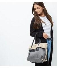 New Look Graue Handtasche in Lammfell-Optik
