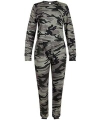 New Look Teenager – Grüner, langärmliger Jumpsuit mit Camouflage-Muster