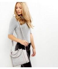New Look Graue Mini-Handtasche mit Boucléeinsatz