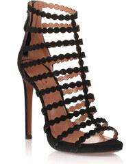 Sandales cage à talons hauts Alaia en daim noir
