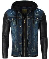 Young Rich Veste Veste imitation cuir et jeans Veste YR400 noir et jeans
