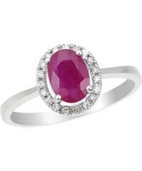 Eppi Zlatý prsten s rubínem a diamanty Xavier