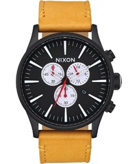 Nixon Herrenuhr Sentry Chrono Leather All Black/Goldenrod A405 2448