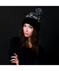 Lesara Mütze mit Schneeflockenmuster - Schwarz