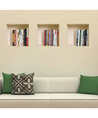 Lesara 3-teiliges 3D-Wandsticker-Set quadratisch - Bücher