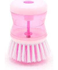 Lesara 2-in-1-Bürste mit Spülmittelspender - Pink