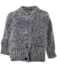 Dirkje Dívčí chlupatý svetr - černo-šedý