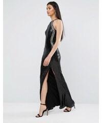 TFNC - Robe longue en sequins avec col montant et fente - Noir