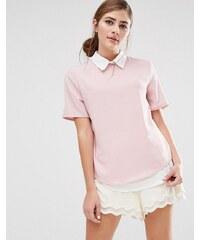 Fashion Union - Chemise manches courtes 2 en 1 - Gris