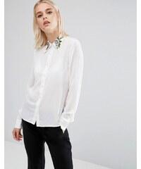 Fashion Union - Chemise à manches longues avec col brodé - Blanc