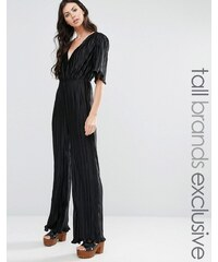 Fashion Union Tall - Combinaison plissée à décolleté plongeant - Noir