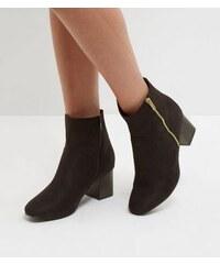 New Look Schwarze Wide Fit Chelsea-Stiefel aus Wildlederimitat mit Blockabsatz