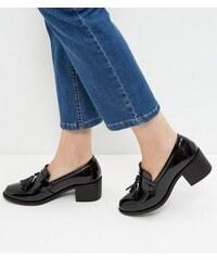 New Look Schwarze Lackloafers mit Blockabsatz und Quasten