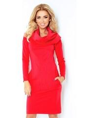 SAF dámské šaty s dlouhým rukávem a šálovým límcem červené velikost oblečení: S
