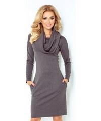 SAF dámské šaty s dlouhým rukávem a šálovým límcem šedé velikost oblečení: S
