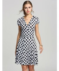 002 Letní zavinovací šaty s puntíky bíločerné