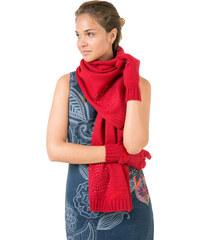 Desigual Zimní šála a rukavice Pack Basic Carmin 67W58K1 3000