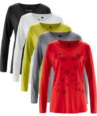 bpc bonprix collection Lot de 5 T-shirts col rond à manches longues rouge femme - bonprix