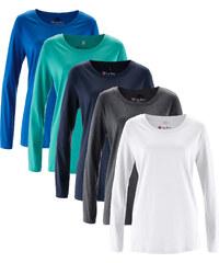 bpc bonprix collection Lot de 5 T-shirts col rond à manches longues bleu femme - bonprix