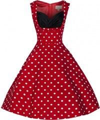 Lindy Bop retro šaty Ophelia červené s bílým puntíkem