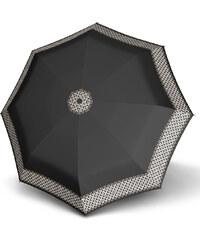 Doppler Dámský skládací plně automatický deštník Fiber Magic Aurora - černý se srdíčky 7441465AR-1