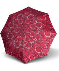 Doppler Dámský skládací plně automatický deštník Fiber Magic Graphic - červený s kruhy 7441465G22-1