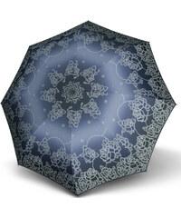 Doppler Dámský skládací vystřelovací deštník Fiber Automatic Classic - modrý s růžemi 73016522