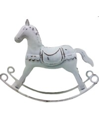 Kovový koník bílý