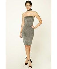 Forever 21 šaty Glitter Knit Choker Neck