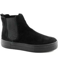 Damenstiefel 40H1 schwarze Stiefel Schuhveloursleder-Ankle-Boots beatles von Frau